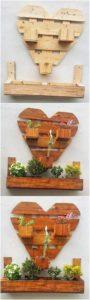 Heart Shape Pallet Wall Planter