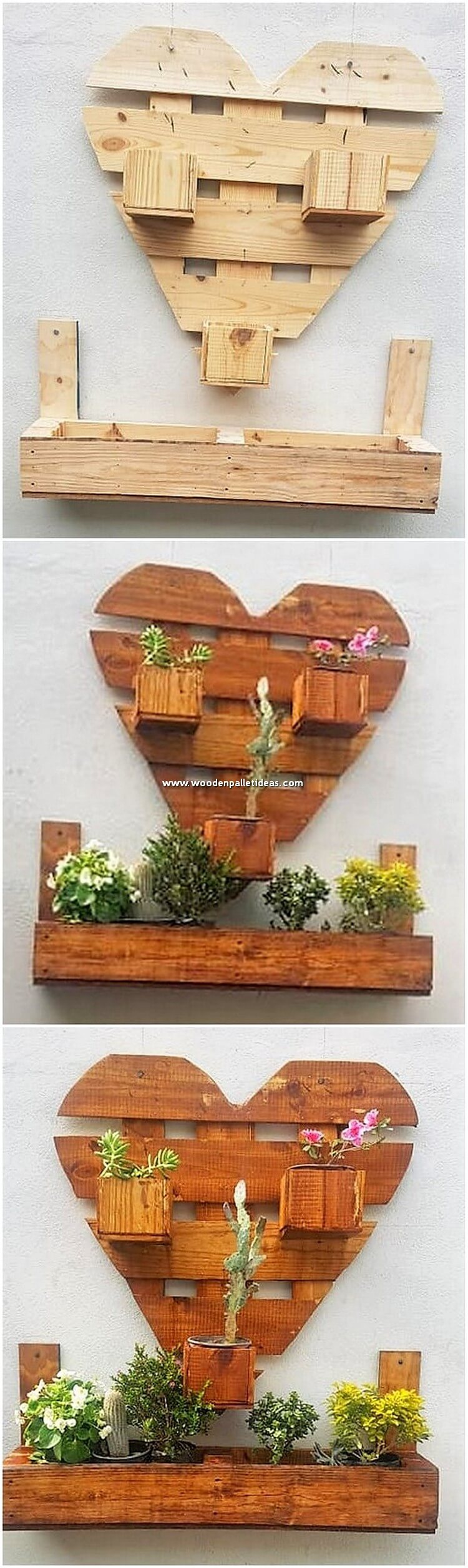 Heart Shape Pallet Wall Planter