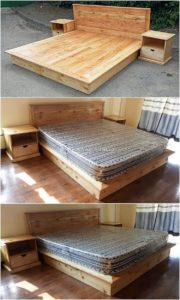 Pallet Bed Frame with Side Tables