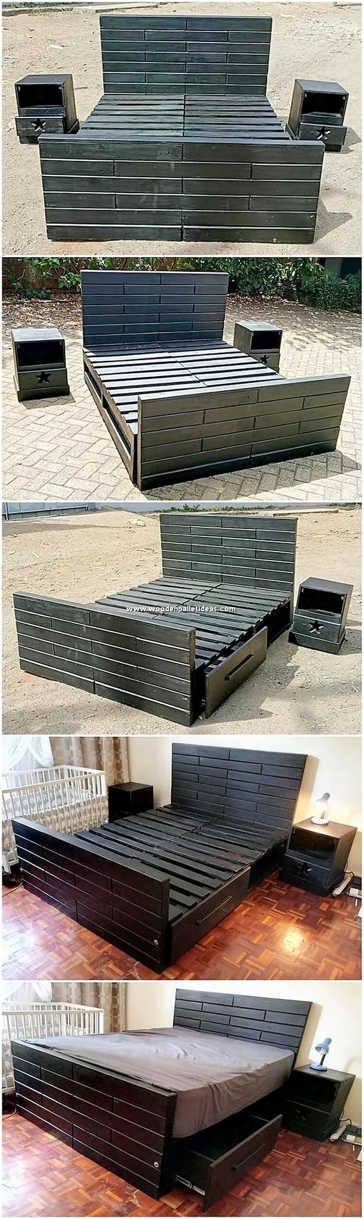 Pallet Bed with Side Tables and Drawers
