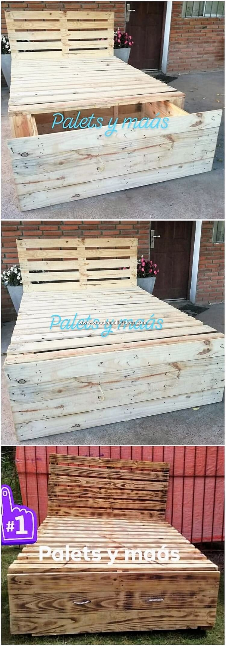 Pallet Bed with Storage Drawer