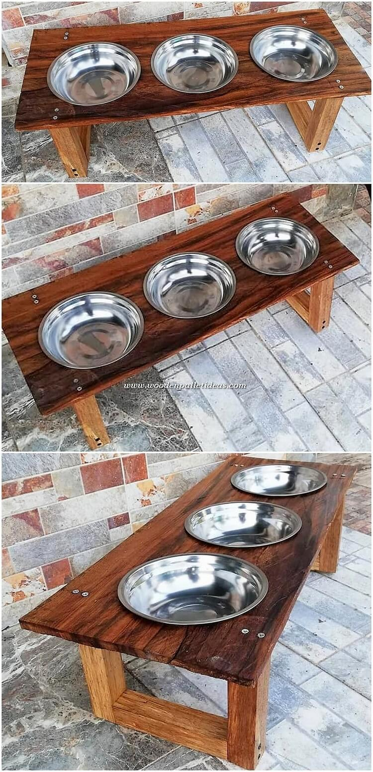 Pallet Dog Food Bowl Stand