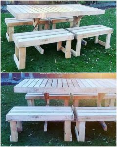Pallet Garden Table and Benches