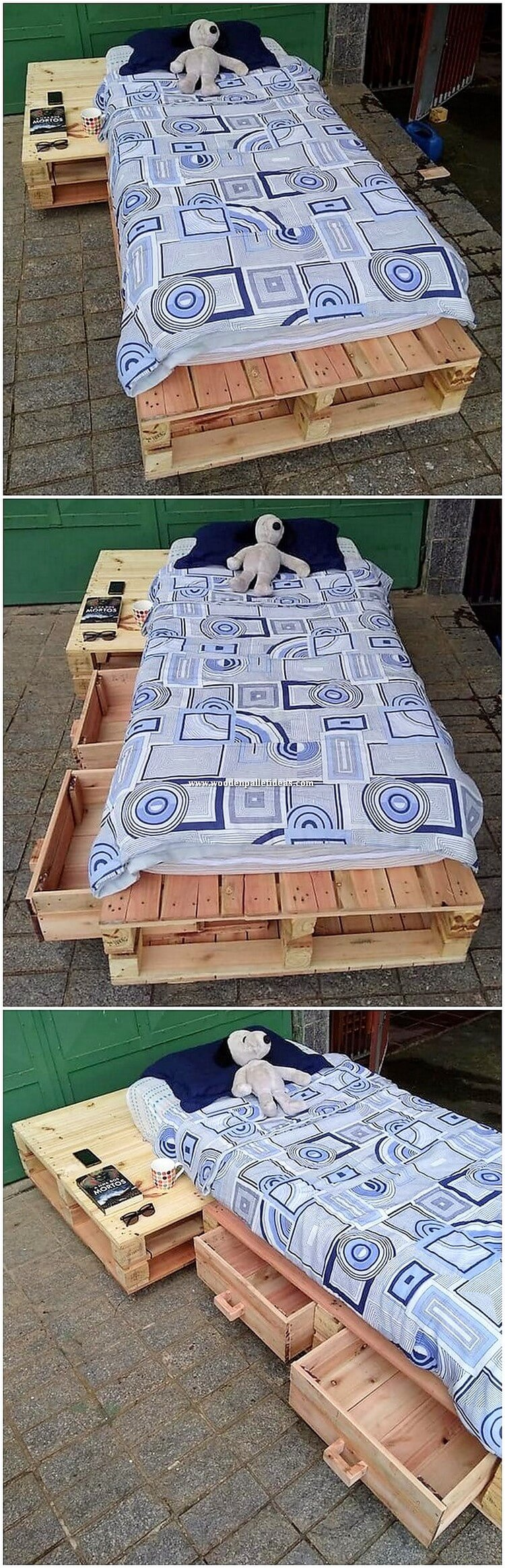 Pallet Kids Bed with Drawers
