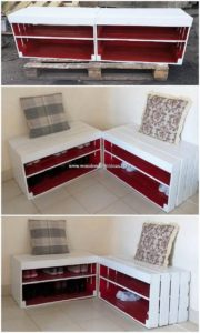 Pallet Seats with Shoe Rack