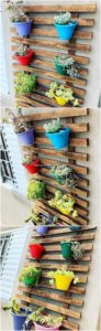 Pallet Wall Planter Pots Holder