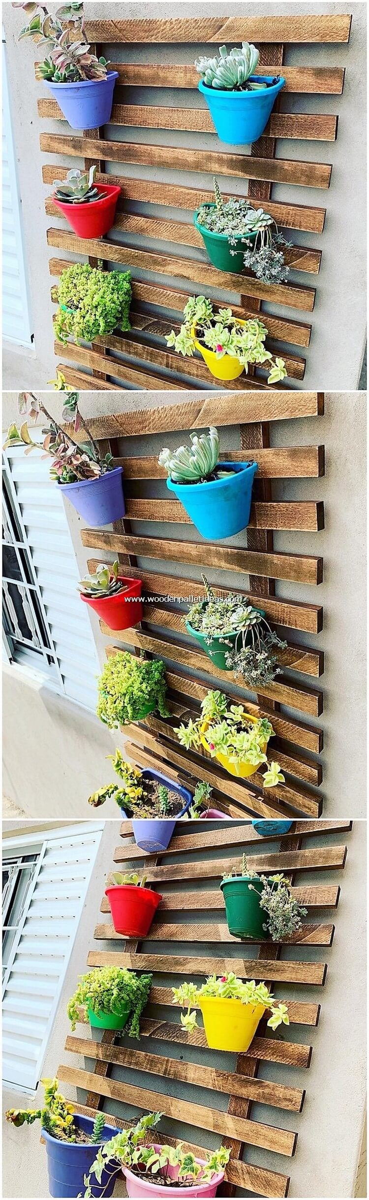 Pallet Wall Planter Pots Holder