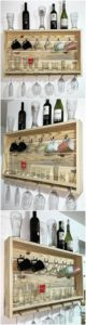Pallet Wine Rack with Glass Holders