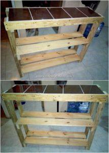 Wood Pallet Shelving Table