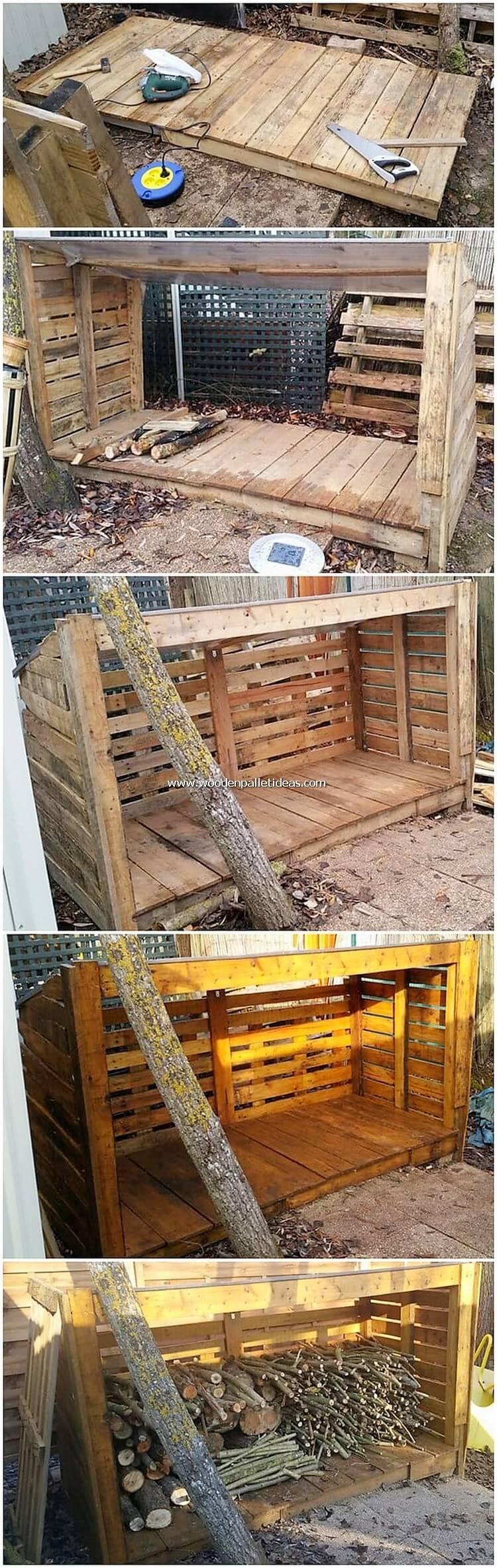 DIY Pallet Outdoor Wood Storage
