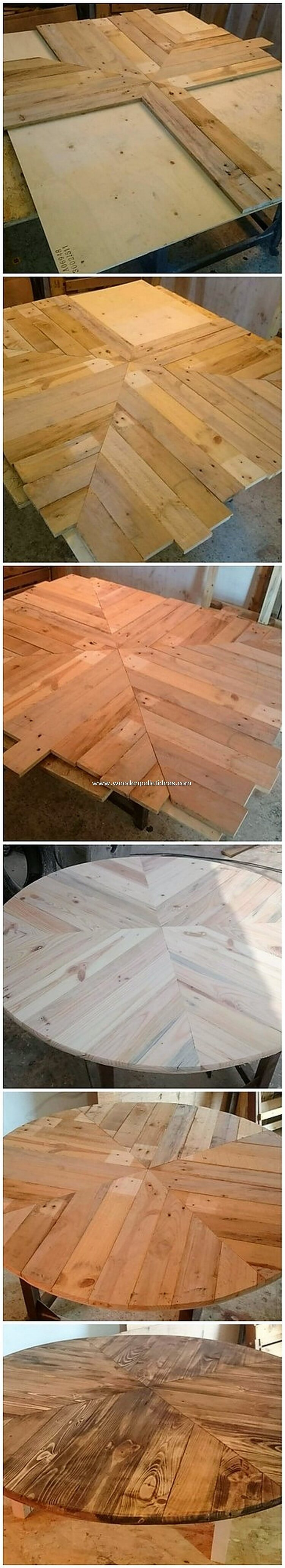 DIY Round Top Pallet Table
