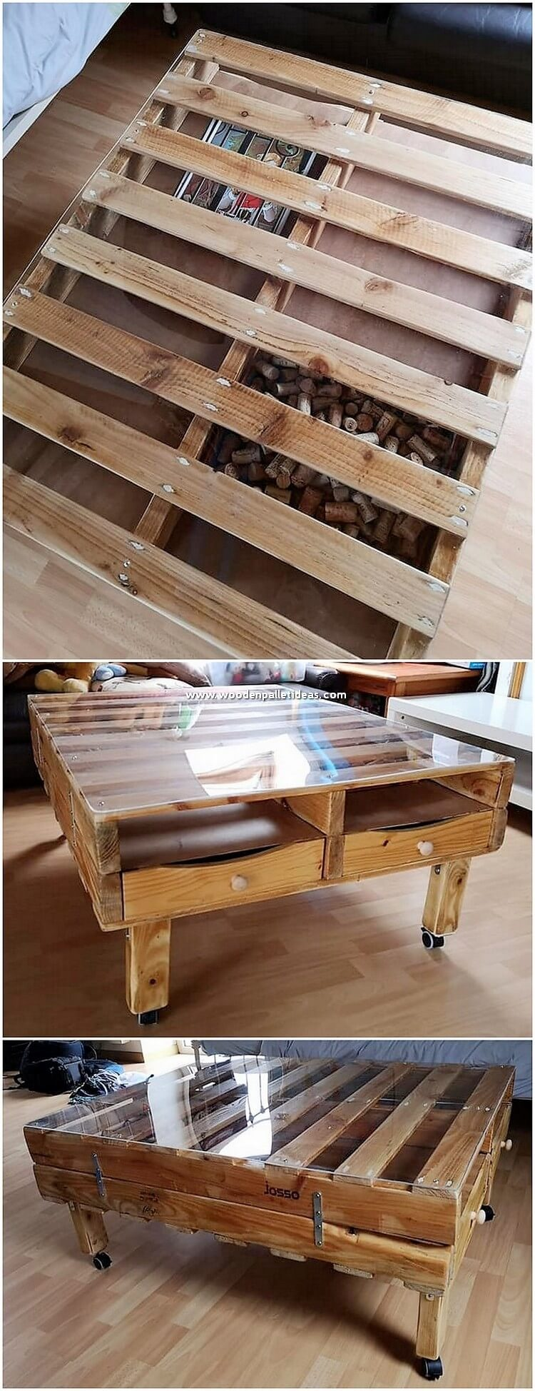 Glass Top Pallet Table with Drawers