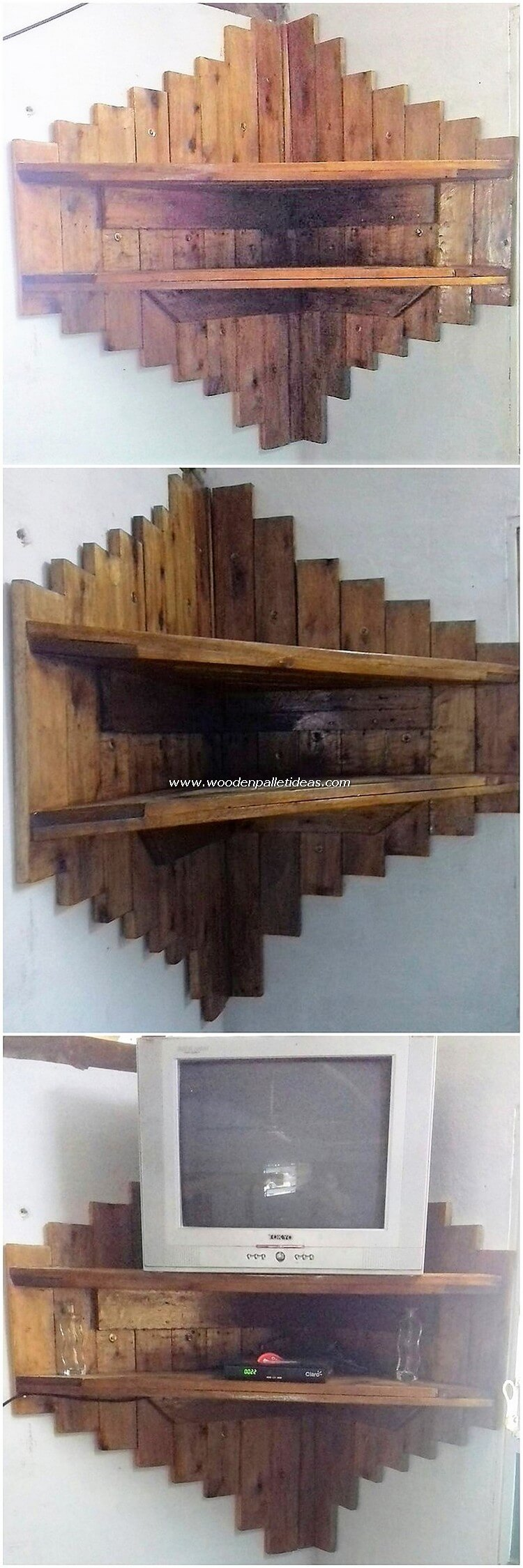 Pallet Corner Wall Shelf with TV Stand