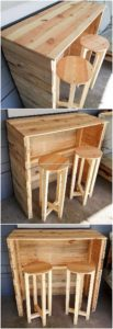 Pallet Kitchen Counter Table and Stools