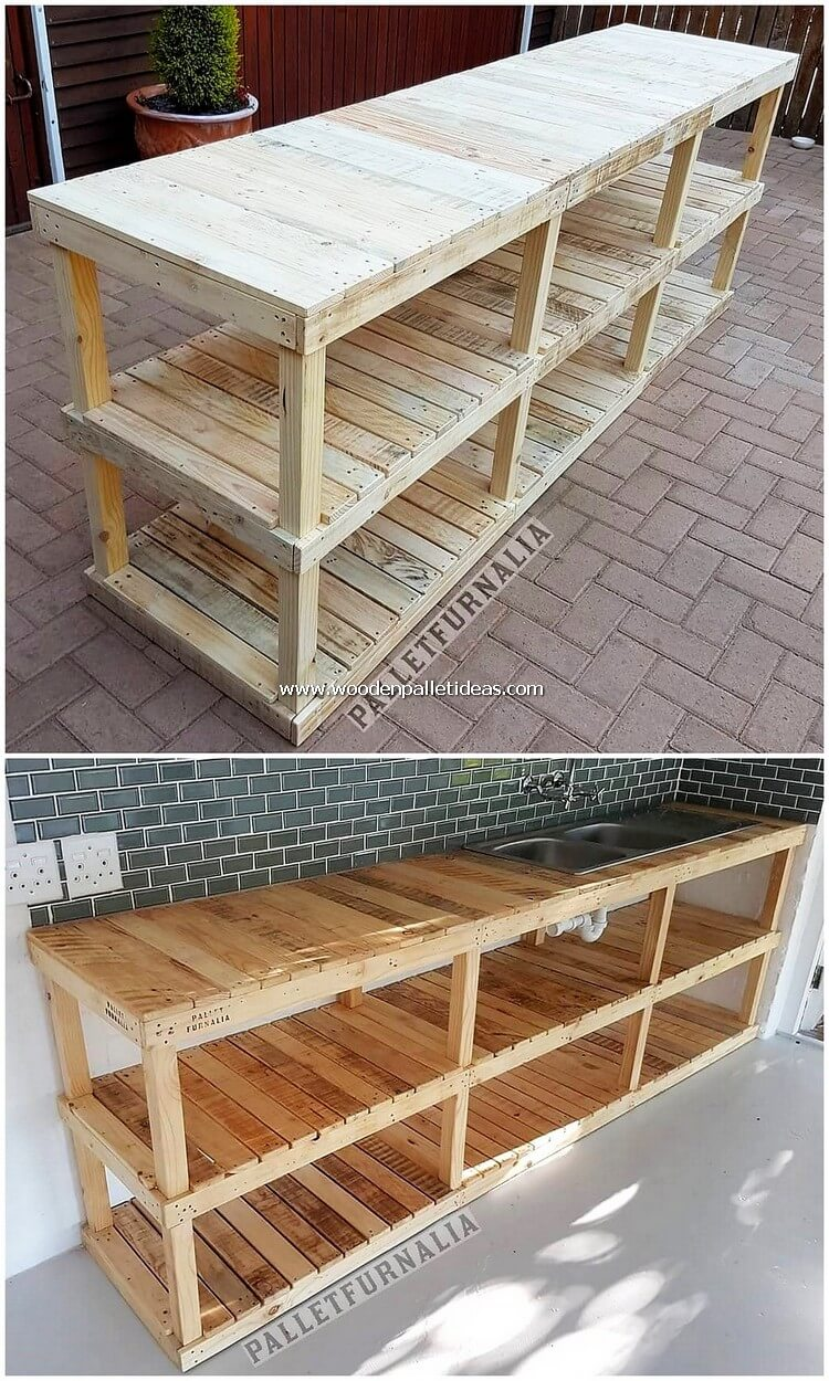 Pallet Shelving Table with Sink