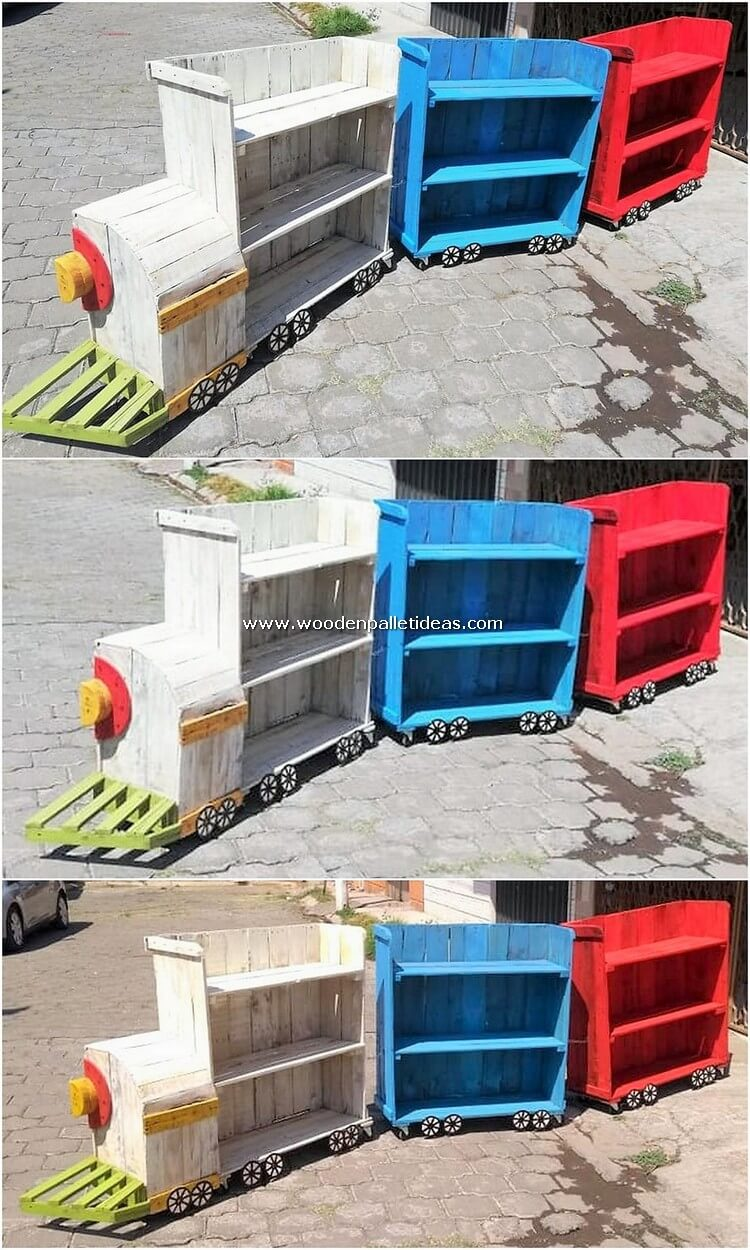 Pallet Train with Shelving Cabinets