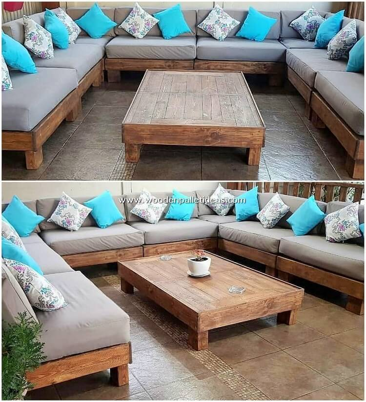 U Shaped Pallet Couch and Table