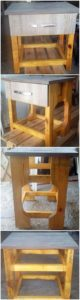 Wood Pallet Side Table with Drawer
