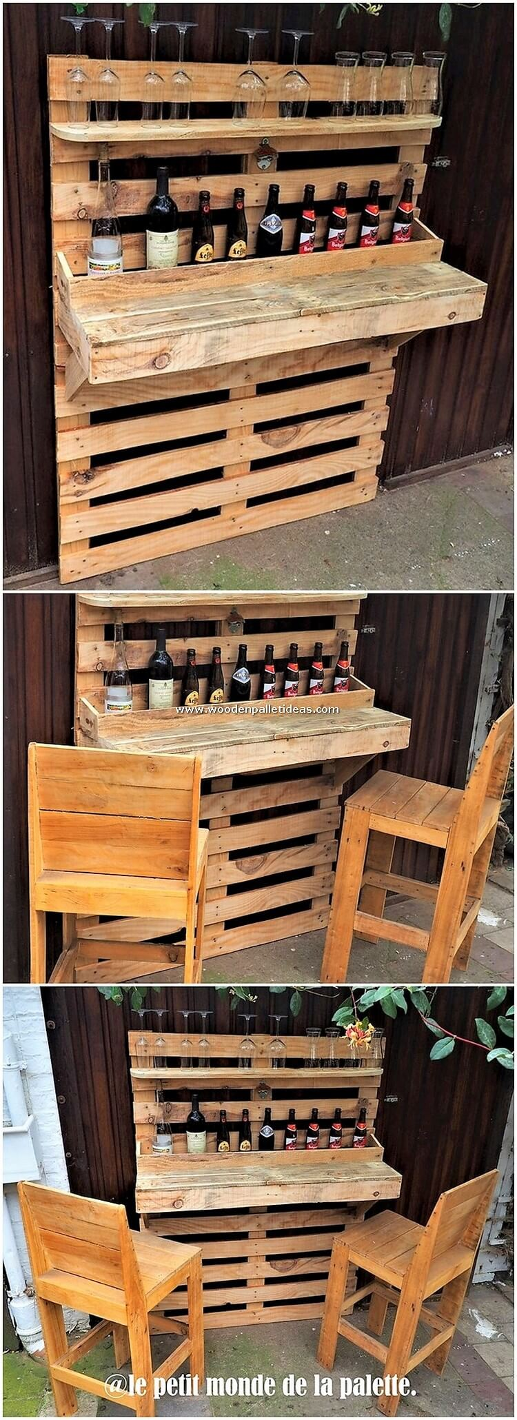 Pallet Bar Counter and Chairs