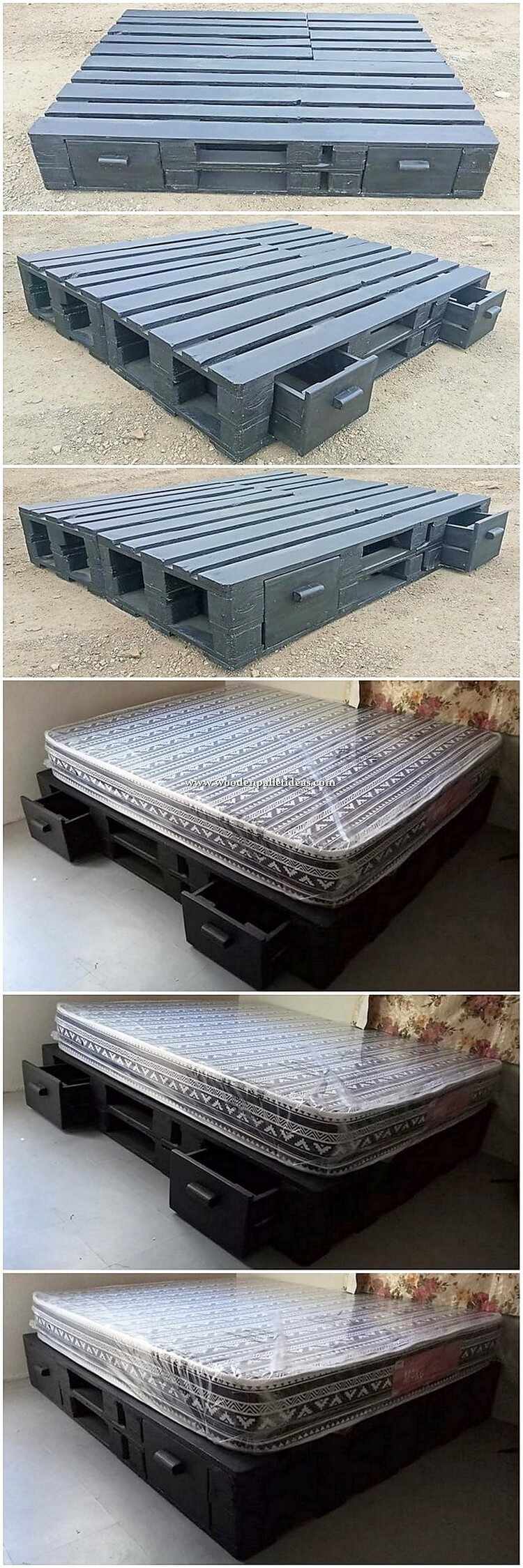 Pallet Wood Bed with Drawers