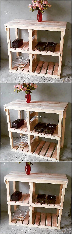 Pallet Wood Shelving Table