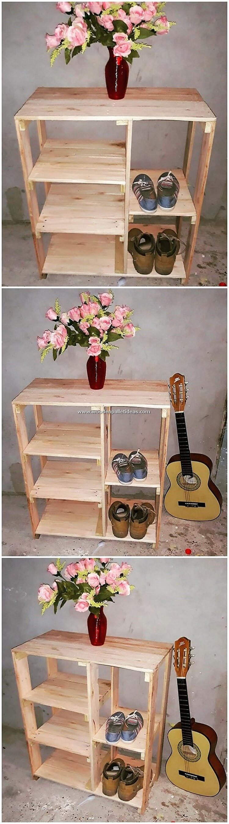 Pallet Wood Table with Shoe Rack