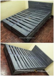 Pallet Wooden Bed with Drawers