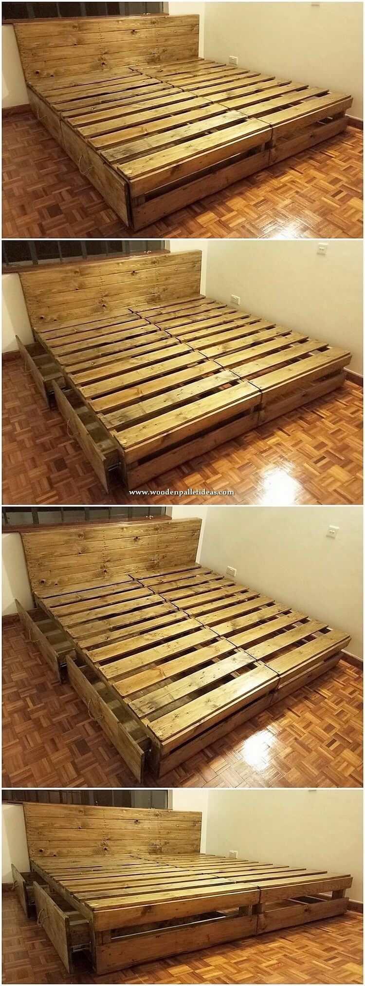 Wooden Pallet Bed with Drawers