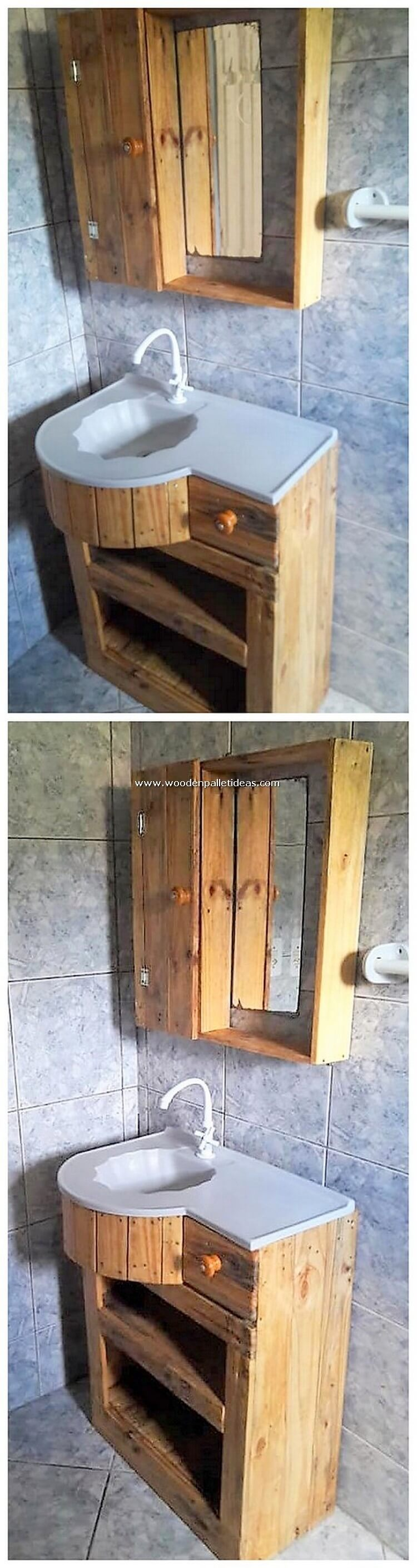 Pallet Bathroom Sink and Cabinet