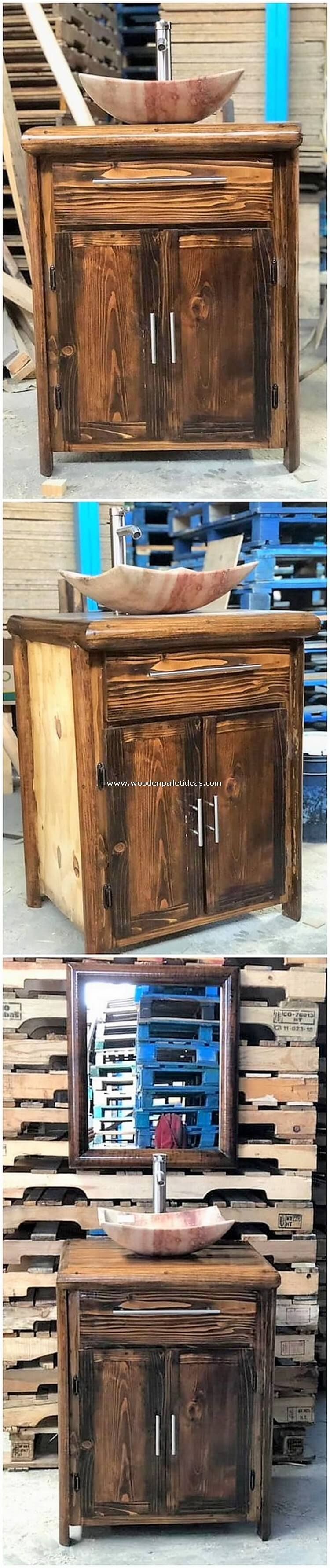 Wooden Pallet Sink with Cabinet
