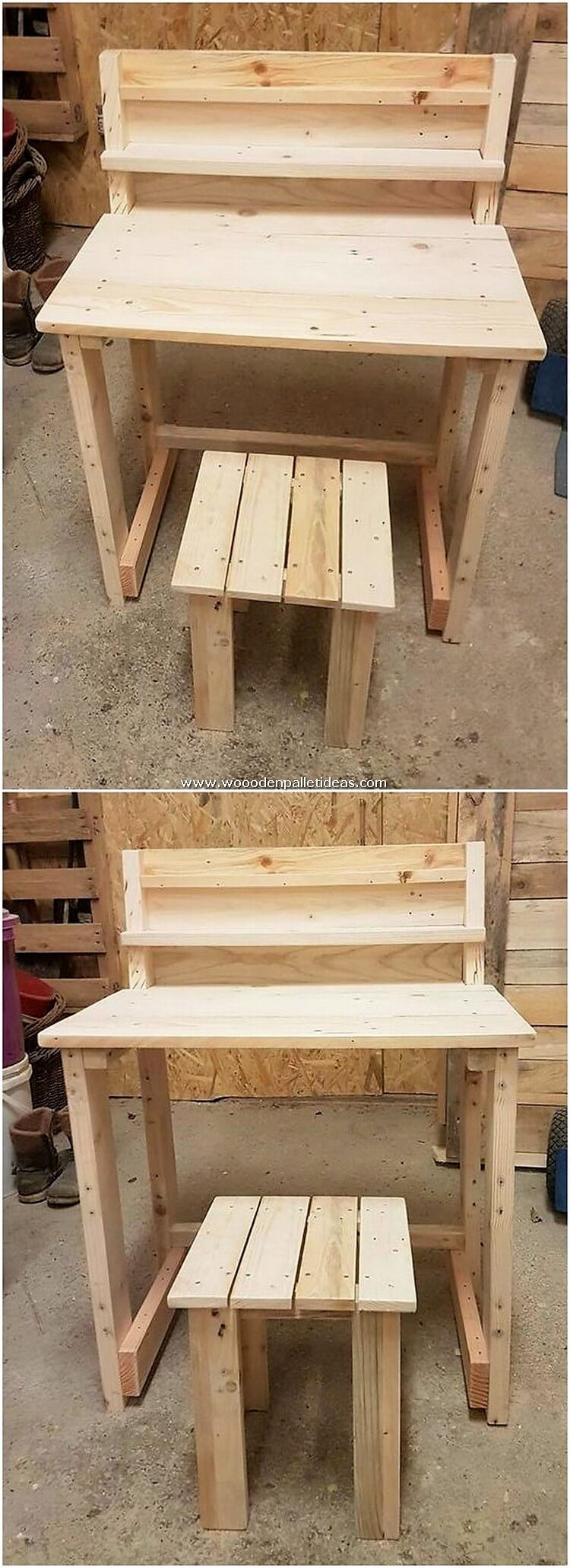 Pallet Desk Table and Stool