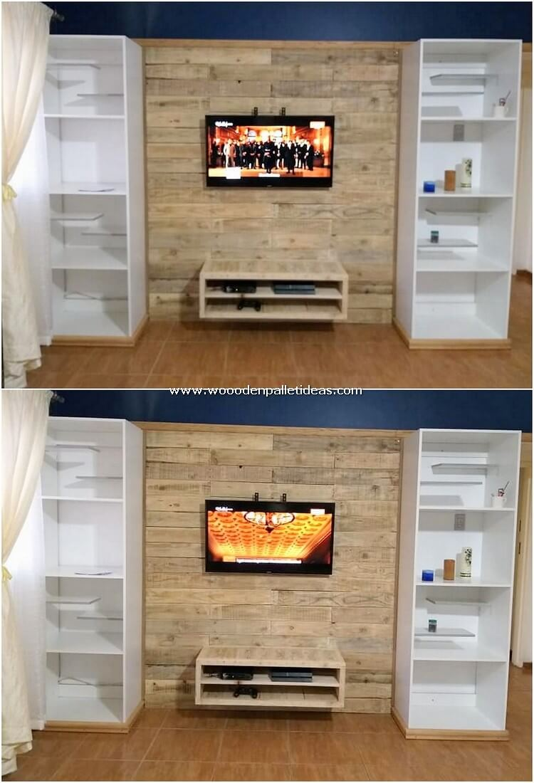 Pallet Wall Paneling with Shelving Units