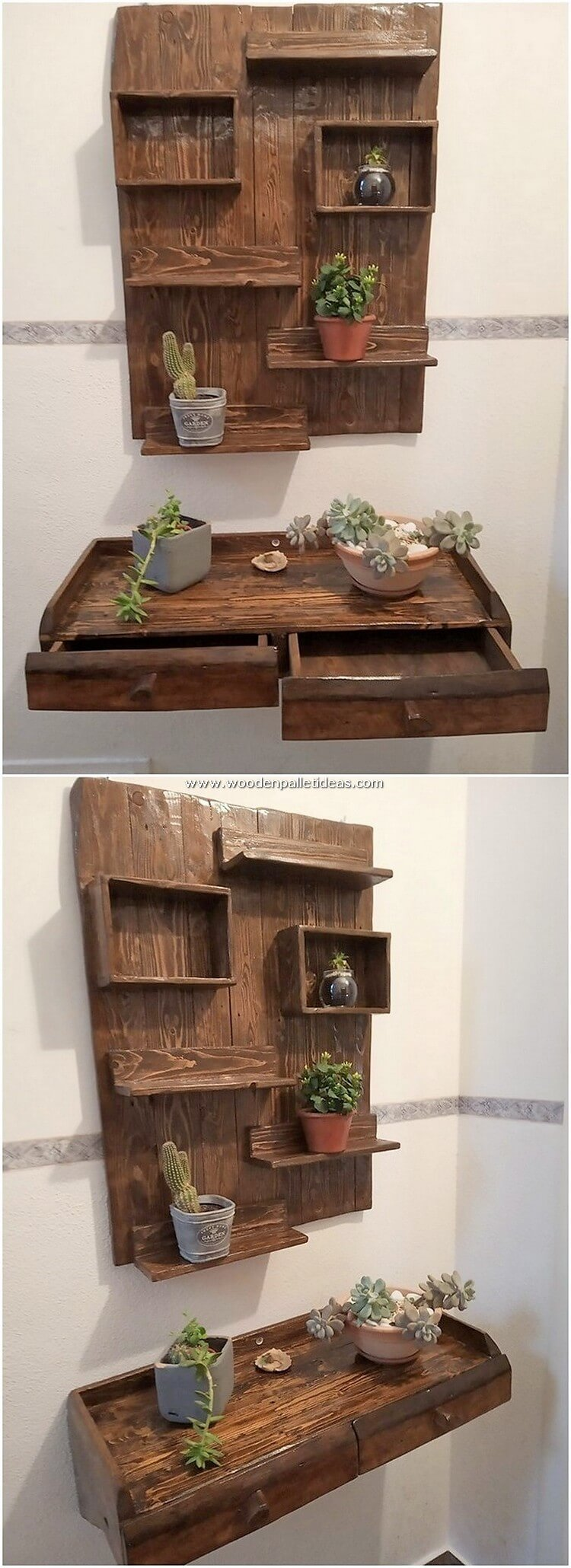 Pallet Wall Shelf and Desk with Drawers