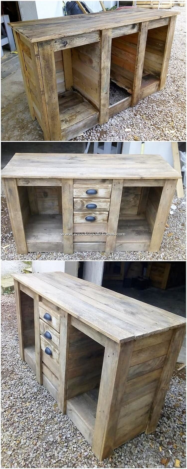 DIY Pallet Table with Drawers