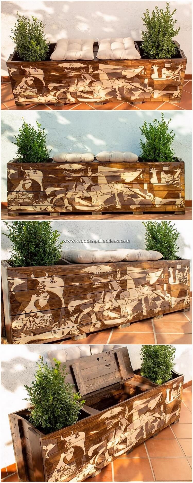 Pallet Seat with Storage and Side Planters