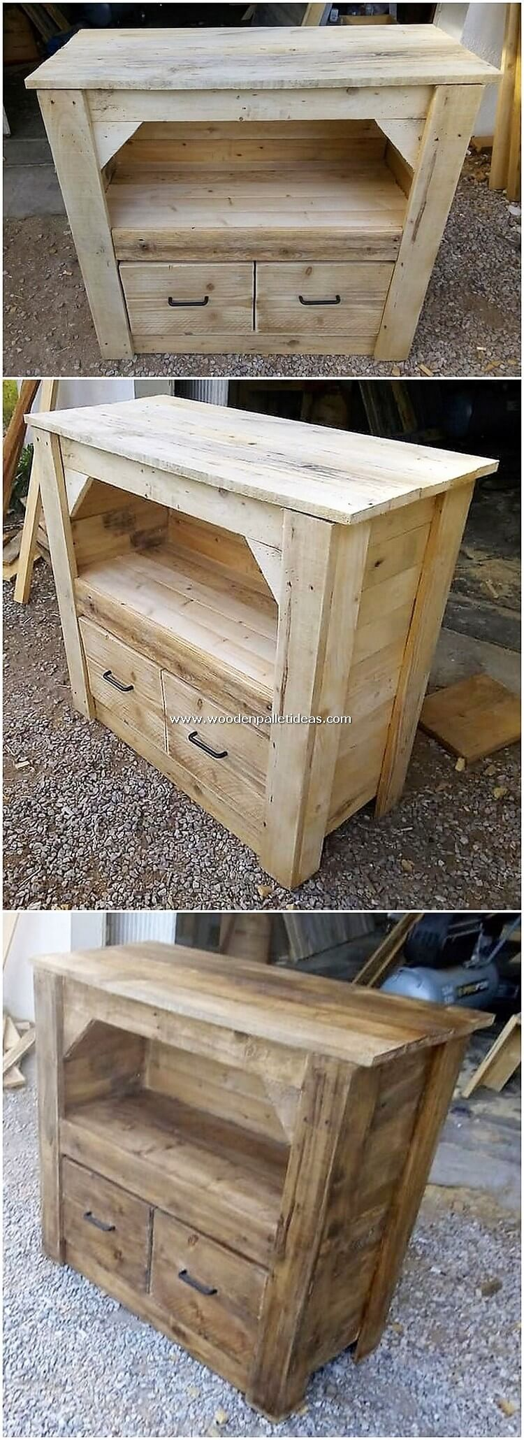 Pallet Wood Cabinet with Drawers